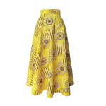 Robe trompe-l'œil en wax jaune imprimé spirales - Jupe midi à godets