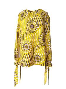 Robe trompe-l'œil en wax jaune imprimé spirales - Blouse esprit seventies à manches nouées