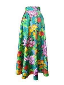 Jupe longue en satin de coton à imprimé tropical fleurs et feuillage