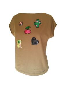Tee-shirt en jersey de viscose camel et écussons brodés