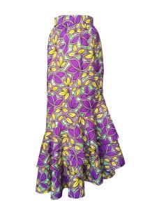 Jupe portefeuille à volants en wax imprimé feuillage jaune et violet