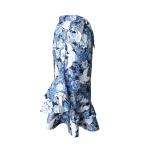 Jupe portefeuille à volants en coton japonais bleu indigo