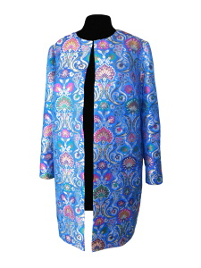 Manteau droit en brocart de soie indienne