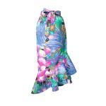 Jupe portefeuille à volants en coton imprimé tropical fleuri