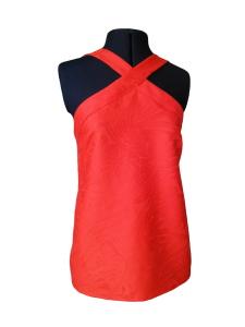 Caraco d'inspiration seventies en jacquard de lin rouge orangé