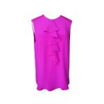 Blouse à jabot façon chemise sans manches en crêpe de Chine rose fuchsia