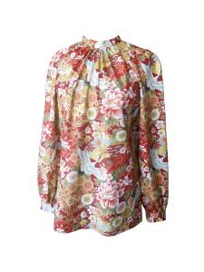 Blouse à col montant en coton japonais imprimé fleurs et grues
