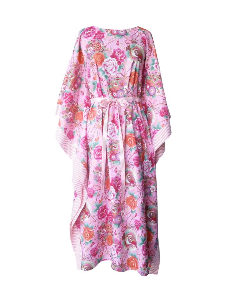 Caftan long en coton japonais rose et finitions rayées