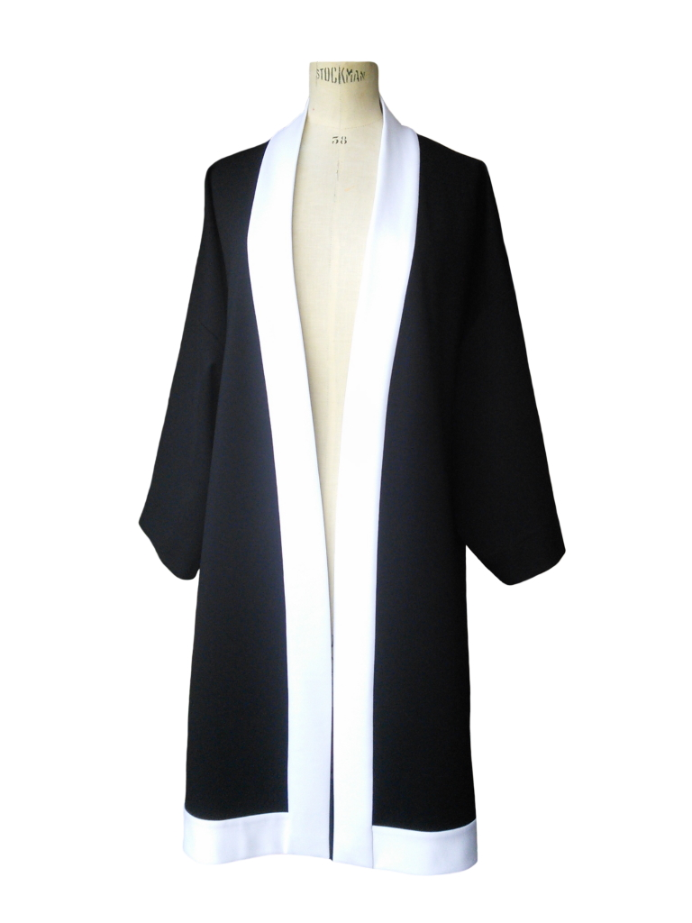 Kimono long en jersey de viscose noir et blanc