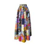 Jupe longue taille froncée en patchwork de coton japonais et wax