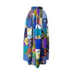 Jupe longue taille froncée en patchwork de coton imprimé, wax et jean de récupération
