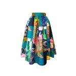 Jupe midi taille froncée en patchwork de coton imprimé, wax et coton japonais