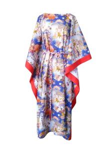 Caftan long en coton japonais bleu et finitions rouge corail