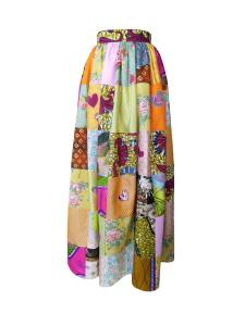 Jupe longue taille froncée en patchwork de coton et soie
