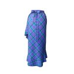 Jupe portefeuille asymétrique à volant frangé en laine tartan