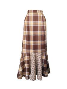 Jupe portefeuille à volant en patchwork de laine tartan