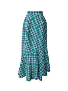 Jupe portefeuille à volant frangé en laine tartan vert émeraude