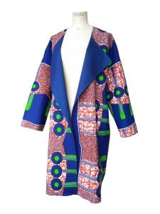 Manteau oversize réversible en bleu de chine et wax