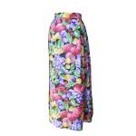 Jupe portefeuille en coton imprimé fruits multicolores