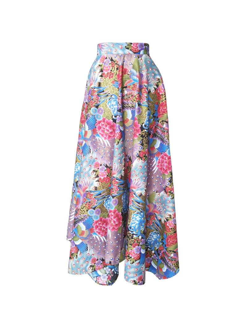 Jupe foulard revisitée en coton japonais imprimé fleurs et paons