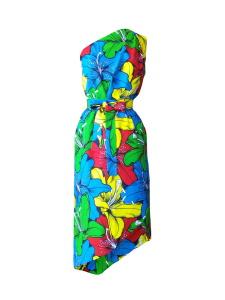 Robe trompe-l'œil asymétrique en wax imprimé lys multicolores