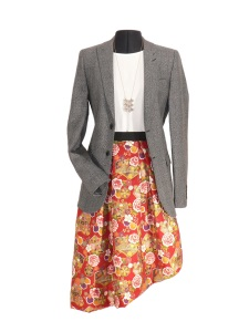 Idée look - Jupe matelassée en coton japonais fleurs et éventails