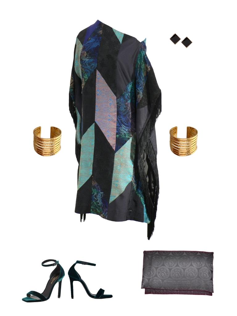 Idée look - Robe poncho à franges en patchwork de soie indienne