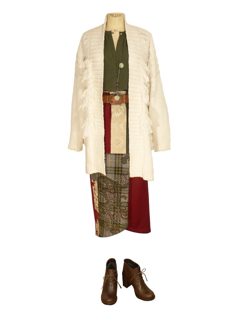 Idée look - Jupe portefeuille en patchwork de velours de laine et soie