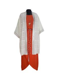 Idée look - Kimono en guipure de Calais et soie
