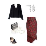 Idée look - Jupe tulipe déstructurée en laine mérinos à motif tartan