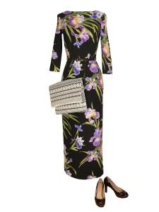 Idée look - Robe fourreau en coton imprimé fleurs d'iris