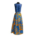 Idée look - Jupe longue hybride en wax orange et bleu vif