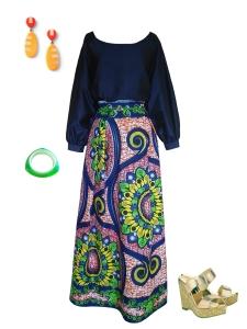Idée look - Jupe longue évasée à plis irréguliers en wax à motifs fleurs et arabesques