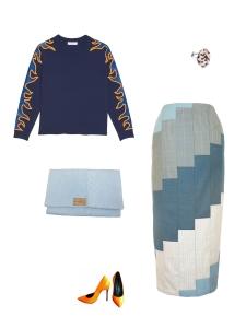 Idée look - Jupe crayon en patchwork de laine
