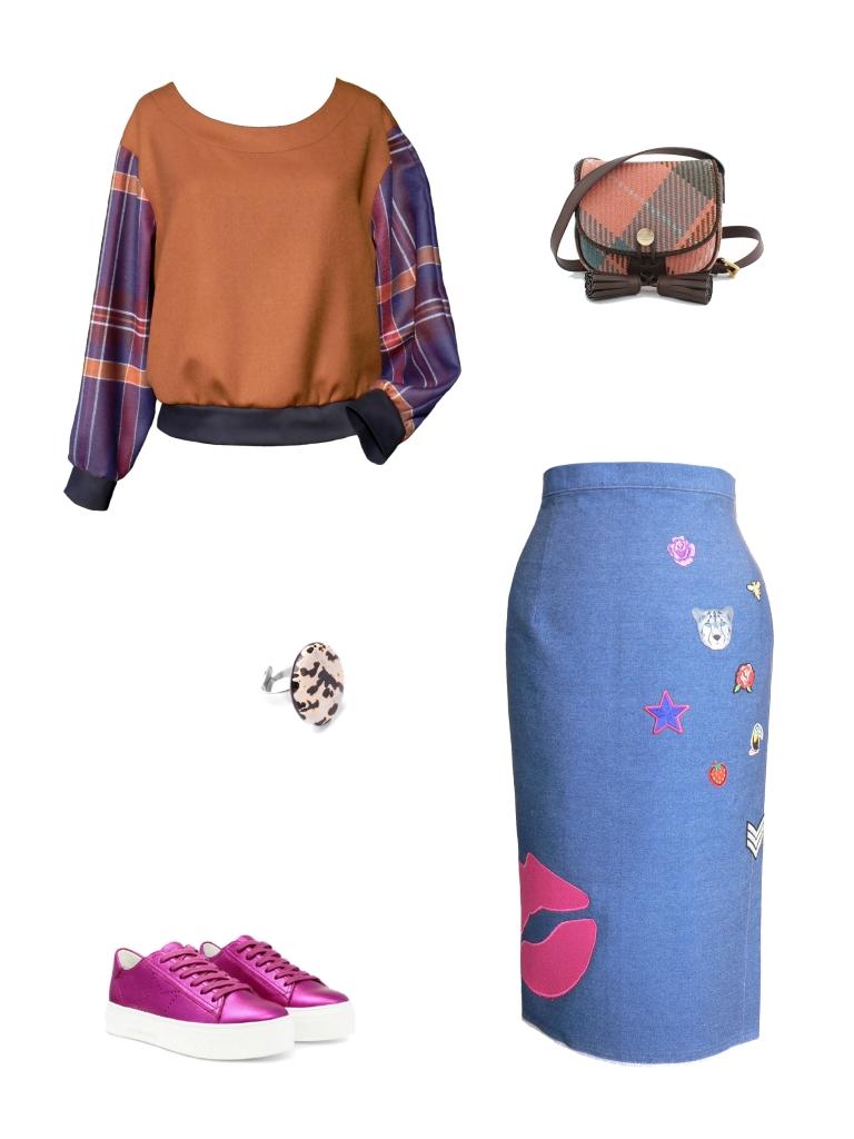 Idée look - Jupe crayon taille haute en jean et écussons brodés