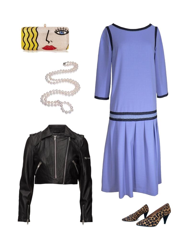 Idée look - Robe d'inspiration années 20 en crêpe bleu lavande