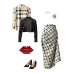 Idée look - Jupe tulipe asymétrique à godet en laine tartan