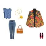 Idée look - Kimono court en coton imprimé pivoines