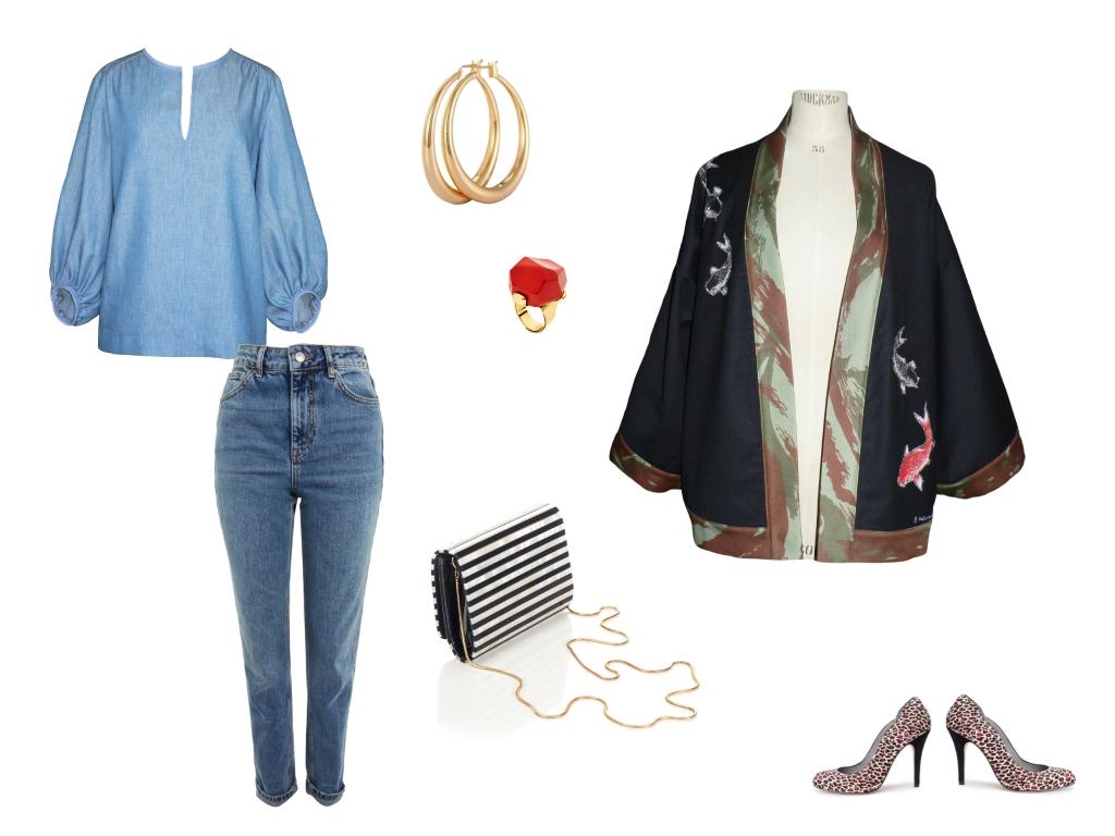 Idée look - Kimono court en laine noire, jean camouflage et carpes brodées