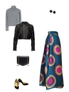 Idée look - Jupe longue en wax émeraude et fuchsia