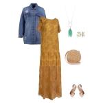 Idée look - Robe longue en dentelle de Calais noisette
