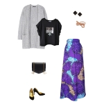 Idée look - Jupe longue évasée à godets irréguliers en wax violet à motifs anémones