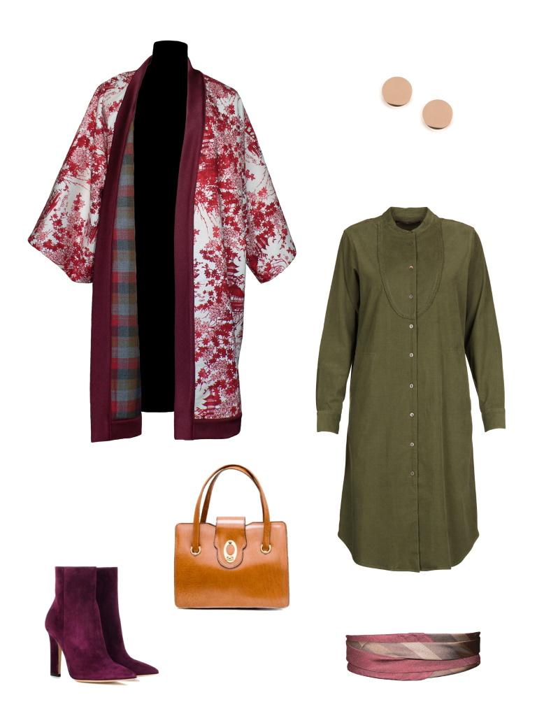 Idée look - Kimono en coton et laine tartan mélangée