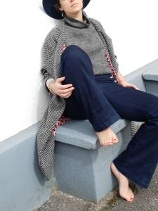 Idée look - Manteau œuf d'inspiration rétro en laine noire et blanche