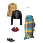 Idée look - Jupe portefeuille asymétrique en laine tartan kaki, vert paon et jaune moutarde
