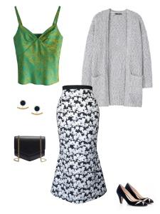 Idée look - Jupe sirène en coton à imprimé fleuri noir et blanc
