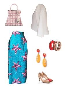 Idée look - Jupe tulipe en wax imprimé étoiles