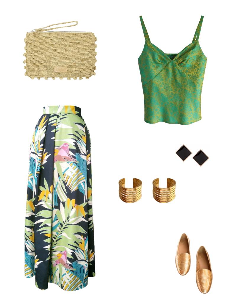 Idée look - Jupe longue en satin de coton à imprimé tropical