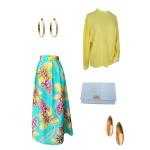 Idée look - Jupe longue hybride en wax à imprimé fleuri jaune et vert menthe