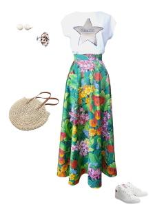 Idée look - Jupe longue en satin de coton à imprimé tropical fleurs et feuillage